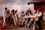 Квартет — Лилия Быданова, Тююне Пулккинен, Татьяна Антышева и Эйла Раутио — на острове Кижи во время совместных съемок фильма ГДР и Центрального телевидения (СССР). 1967 г