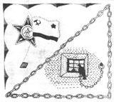 Флаг, вышитый К.А.Киприяновым в тюрьме, с которым он, приговоренный к смерти, готовился встретить казнь (Экспонат выставки «Сталинизм в судьбах людей» в музее Великой Октябрьской социалистической революции (1990) //Советский музей. – №6. – 1990).
