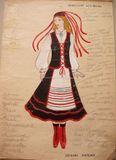 Эскиз финского женского костюма. Автор – Хельми Мальми. Из архивов ансамбля «Кантеле»