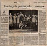 Заметка о выступлении «Кантеле» с программой «Руны Калевалы» в финской газете «Kaleva»