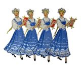 Эскизы костюмов к танцу «Вышивальщицы» и сохранившийся в архиве аксессуар к танцу