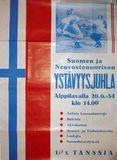 Афиша «Финско-советский молодежный Праздник Дружбы в Алппилава» 20 июня 1954 г.