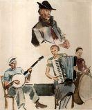 Генрих Фогелер. Финские музыканты из Америки. Акварель, 1934 (из альбома «Heinrich Vogeler in Karelien 1925-1936″)