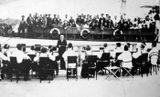 Концерт на пристани в Петрозаводске. 1936 г. Художественный руководитель и дирижер — Виктор Гудков