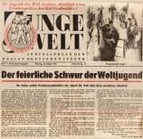 Газета на немецком языке с информацией и фото на фестивале. На фото: 2-я справа – артистка «Кантеле» Анна Шенкман.