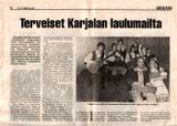 «Привет от карельской земли». Статья в газете «Sulkava» №46 от 12 ноября 1992 г. (Финляндия)