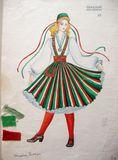 Эскизы финских костюмов к танцу «Летка-Йенька». Автор – Хельми Мальми. Из архивов ансамбля «Кантеле»
