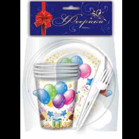 """Набор посуды """"Воздушные шары"""" 6 шт. (тарелки, стаканы, вилки, ножи, салфетки) (20) ФЕЕРИКА"""