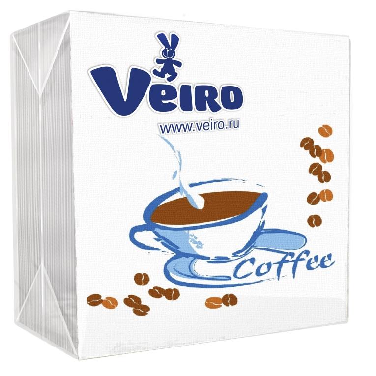 Салфетки Veiro Сервировочные кофе 1-х сл, 24*24 (50шт)