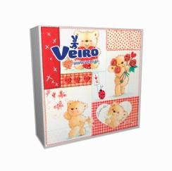 Салфетки Veiro белые Медвежата 3-х сл, 33*33 (20шт)