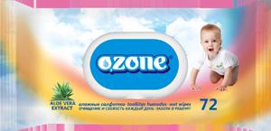 Ozone Салфетки влажные 72 шт детские с алоэ с пласт. клапаном (27)