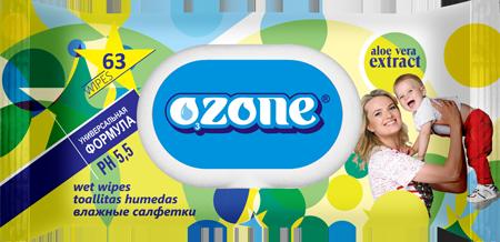 Ozone Салфетки влажные 63 шт детские с алоэ с пласт. клапаном (27)