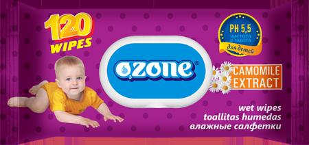 Ozone Cалфетки влажные 120 шт детские с ромашкой с пласт. клапаном (15)