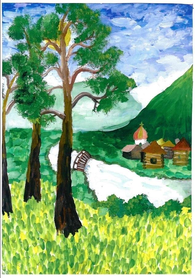 Пейзаж родного края рисунок