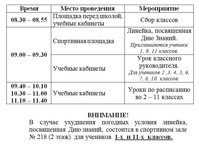 План 1 сентября