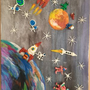 Творческие работы обучающихся с ТМНР, в том числе с РАС, ко дню космонавтики