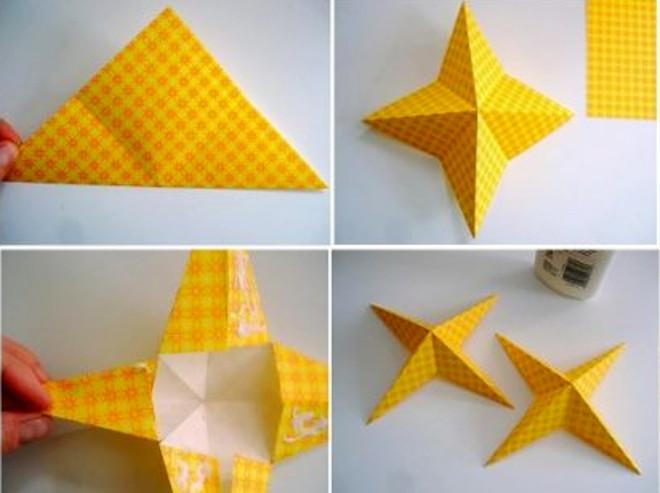 Четырехконечная звезда из бумаги