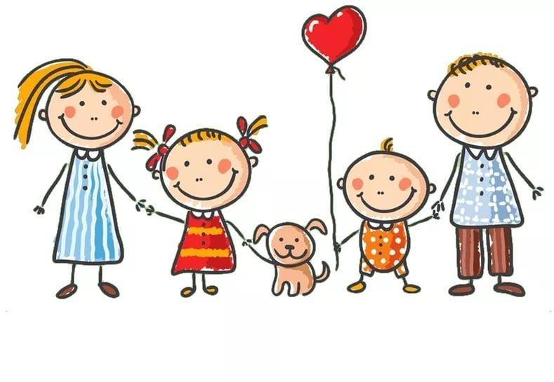 Открытка, картинки дети с родителями нарисованные