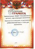 Почетная грамота  Администрации МКДОУ Митрофановского детского сада за долголетний, добросовестный труд