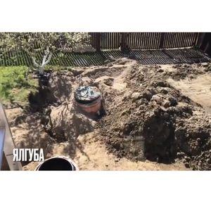 Монтаж септика с опалубкой в сложные водонасыщенные грунты.    Деревня Ялгуба, Прионежского района